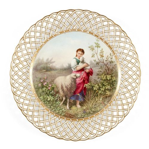 Derby porcelain cabinet plate painted by James Rouse
