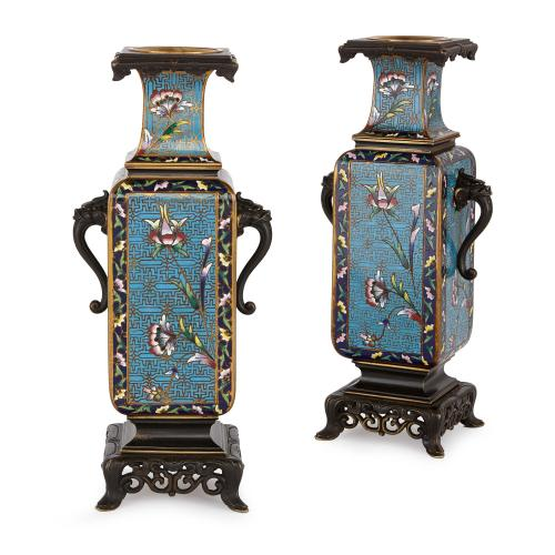 Pair of Japanese style bronze mounted cloisonne enamel vases