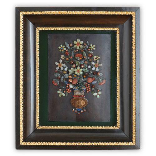 Italian pietra dura semi-precious stone floral wall panel
