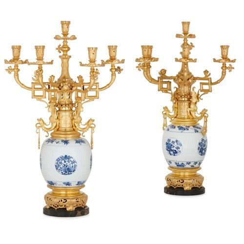 Pair of ormolu mounted porcelain Chinoiserie style candelabra