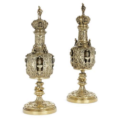 Pair of Renaissance style silver-gilt scent bottles