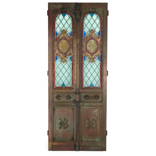 Large pair of bronze doors with stained glass inset panels