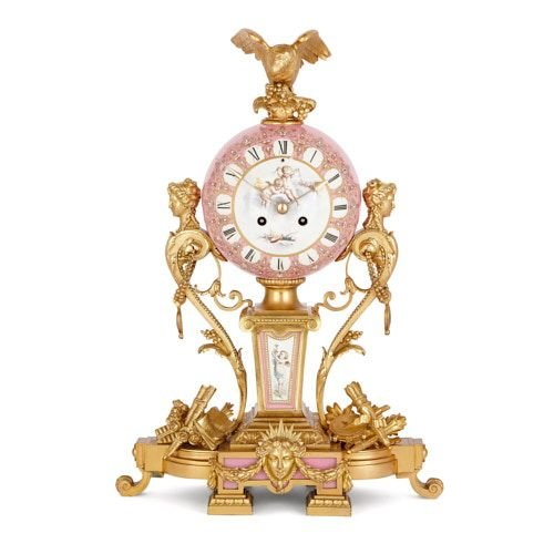 Sevres style porcelain and ormolu mantel clock by Le Roy et fils