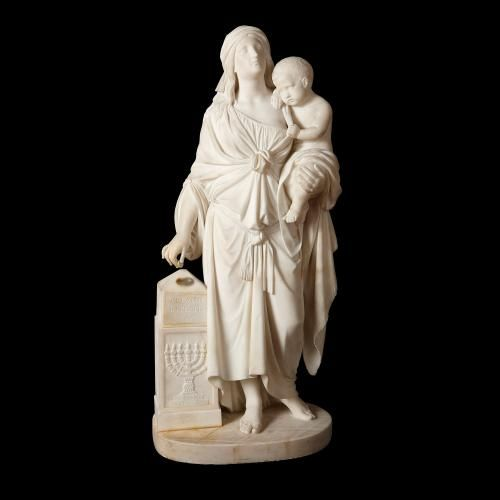 White Carrara marble sculpture of Hannah and Samuel by Andrei