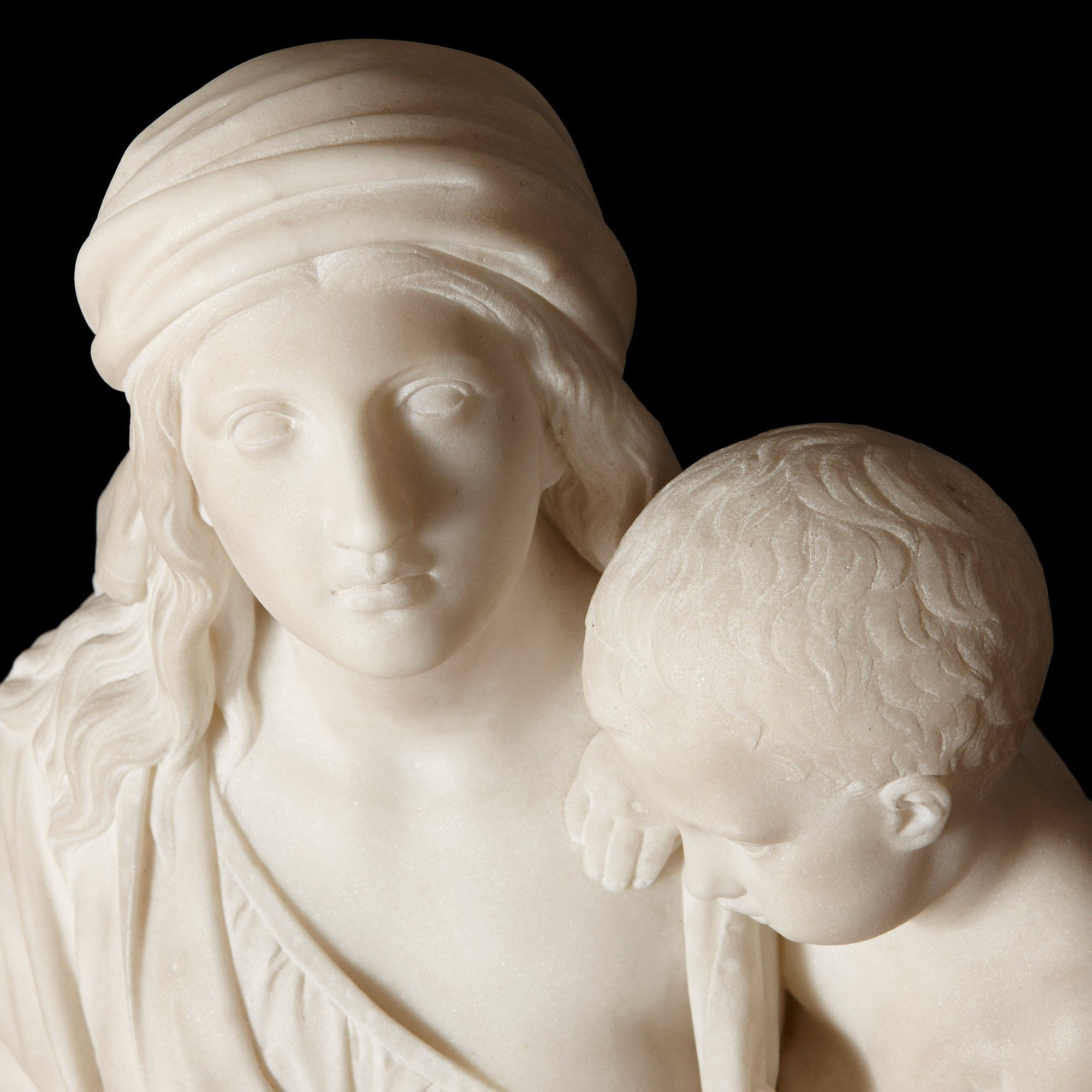 White Carrara Marble Sculpture Of Hannah And Samuel By