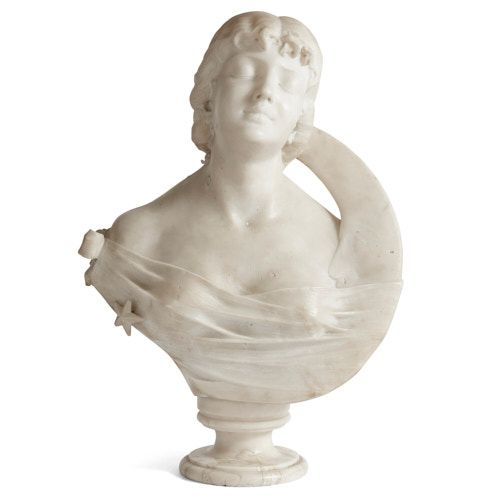 'Night', Italian marble bust of a woman with the crescent Moon