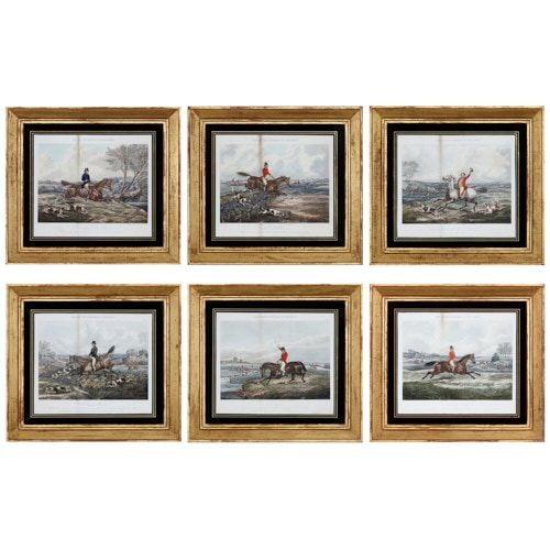 Set of six equestrian prints by Rudolph Ackermann