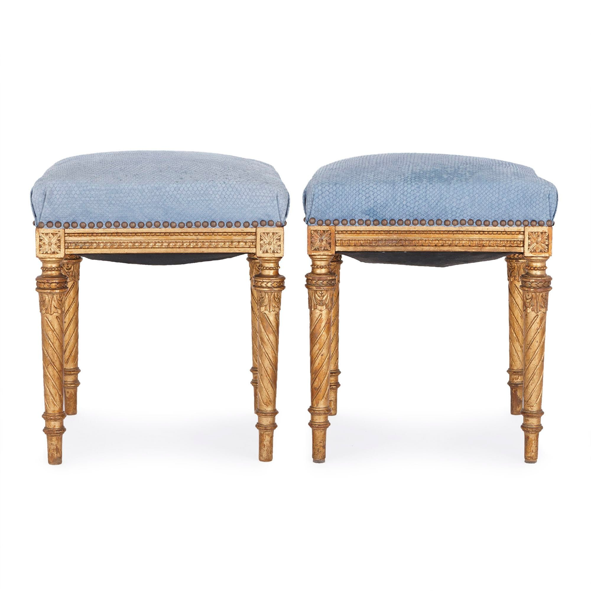 Pleasing Two Louis Xvi Style Upholstered Carved Giltwood Stools Caraccident5 Cool Chair Designs And Ideas Caraccident5Info