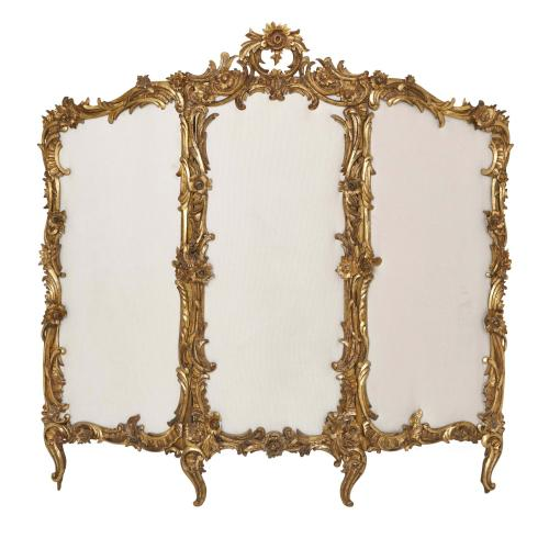 Giltwood Rococo style antique folding screen