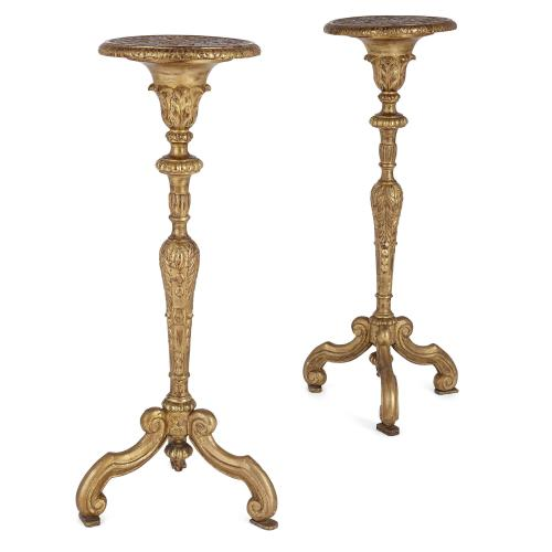 Pair of French carved giltwood pedestals