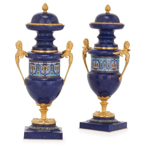 Pair Of Ormolu Champlev Enamel And Lapis Lazuli Vases Mayfair