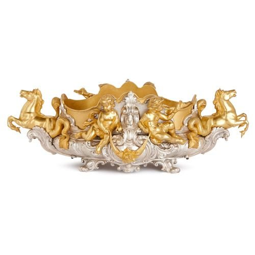 Antique Louis XV style silvered and gilt bronze jardinière