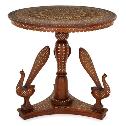 Indian rosewood circular table with ivory inlay