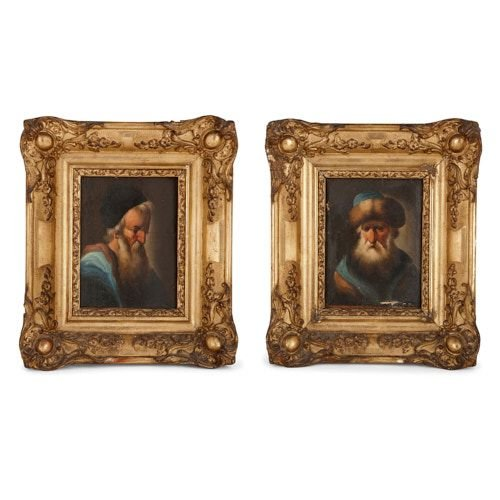 Pendant pair of miniature portrait paintings of Rabbis