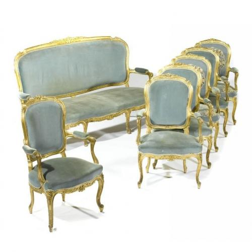 Louis XV style giltwood antique seven piece salon suite