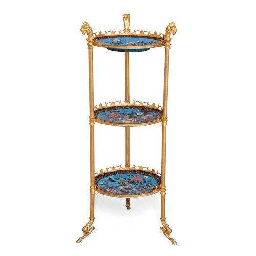 Empire style gilt metal and cloisonné enamel étagère