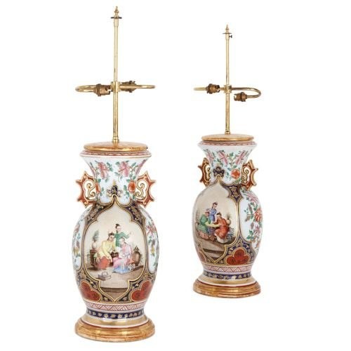 Pair of Chinoiserie painted and gilt porcelain table lamps