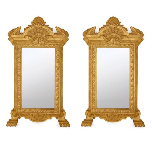 Pair of Empire style gilt wood antique mirrors