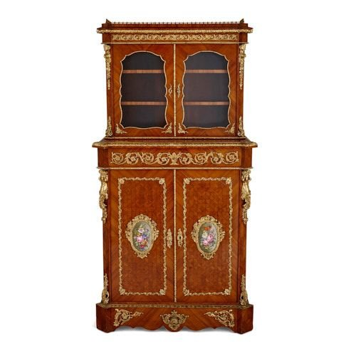 Ormolu and porcelain mounted antique cabinet by Louis Grade