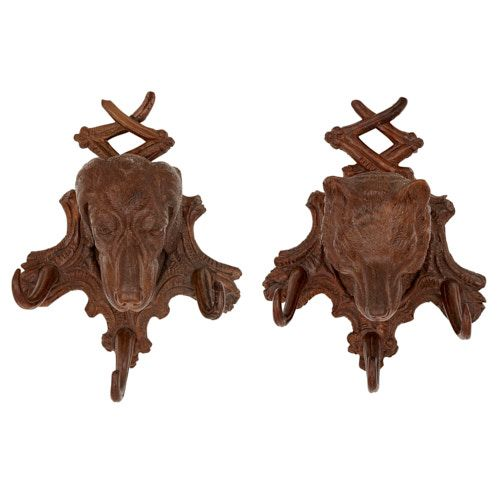 Pair of Black Forest dog-form wooden coat hangers