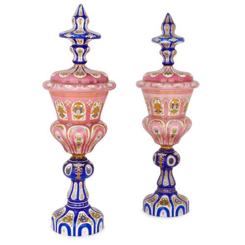 Large pair of parcel-gilt Bohemian glass vases