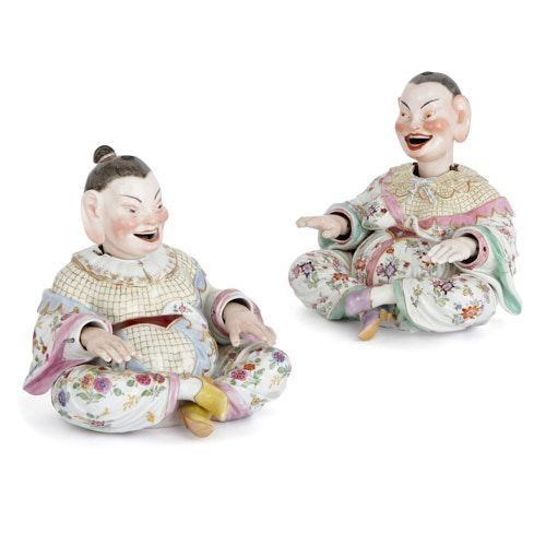 Pair of Meissen porcelain nodding pagoda figures