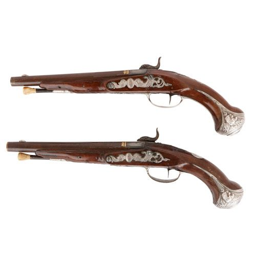 Pair of antique flintlock pistols by Jalabert-Lamotte