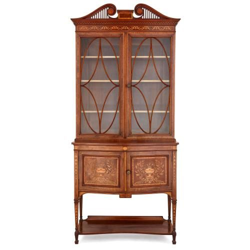 Antique Victorian marquetry and mahogany display cabinet