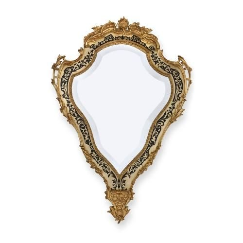 Victorian period ormolu mounted brass and tortoiseshell Boulle mirror