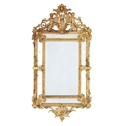 Large Baroque style antique French giltwood framed mirror