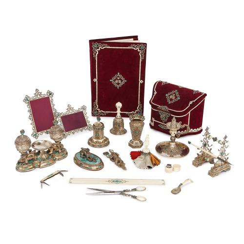 Silver-gilt and malachite Austro-Hungarian travel desk set