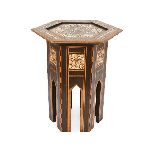 Antique Moorish mother of pearl inlaid occasional table