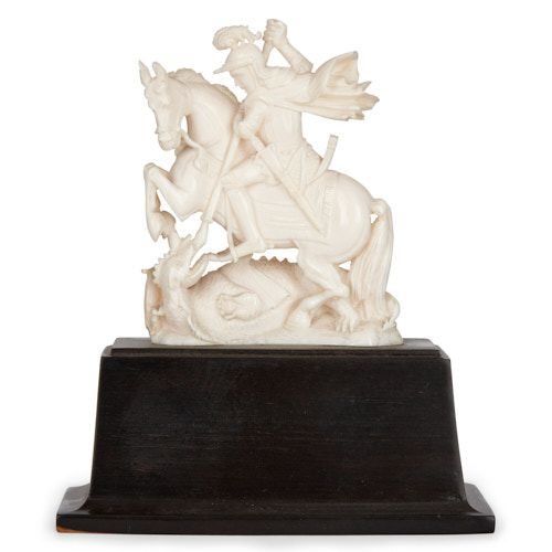 Anglo-Indian ivory carving of Saint George and the Dragon