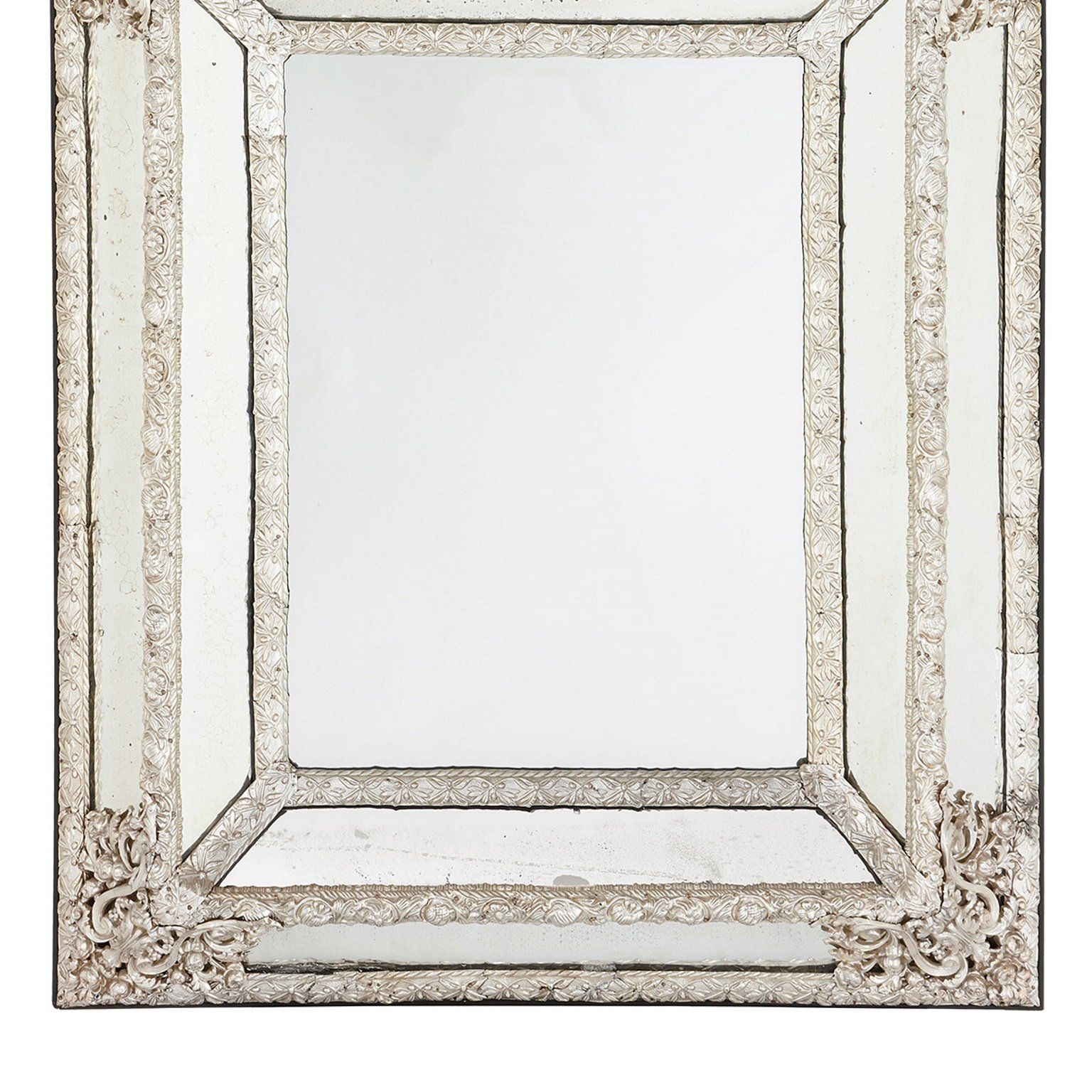 Large Antique French Silvered Rectangular Mirror Mayfair