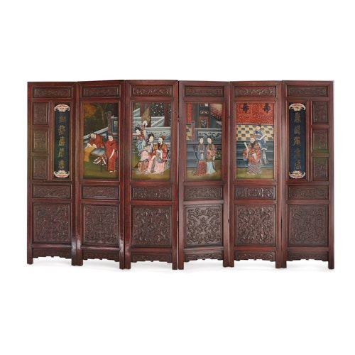 Chinese carved wooden and painted glass six-panel screen