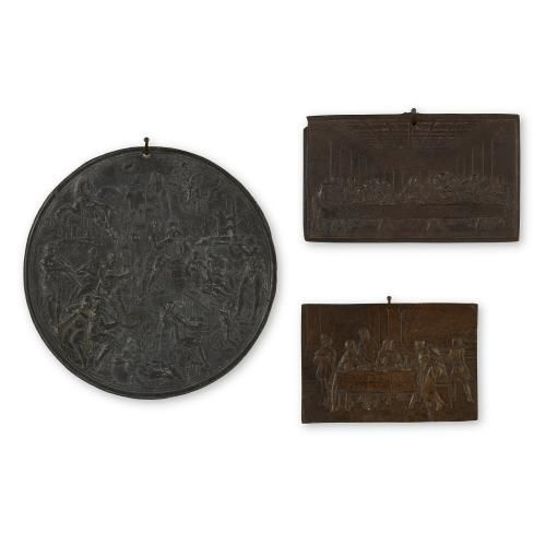 Set of three antique German Renaissance style iron plaques