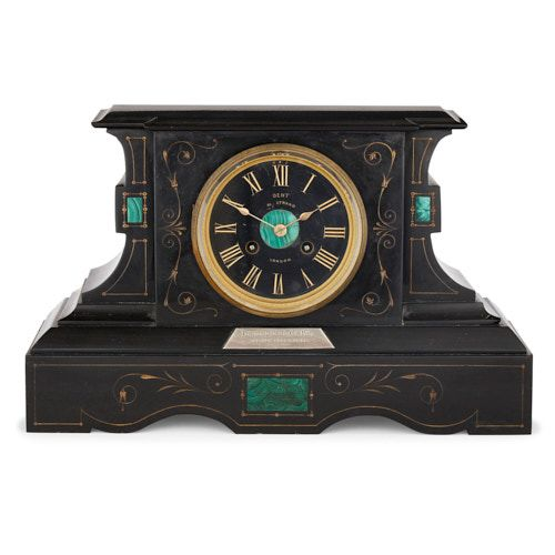 French black marble and malachite mantel clock