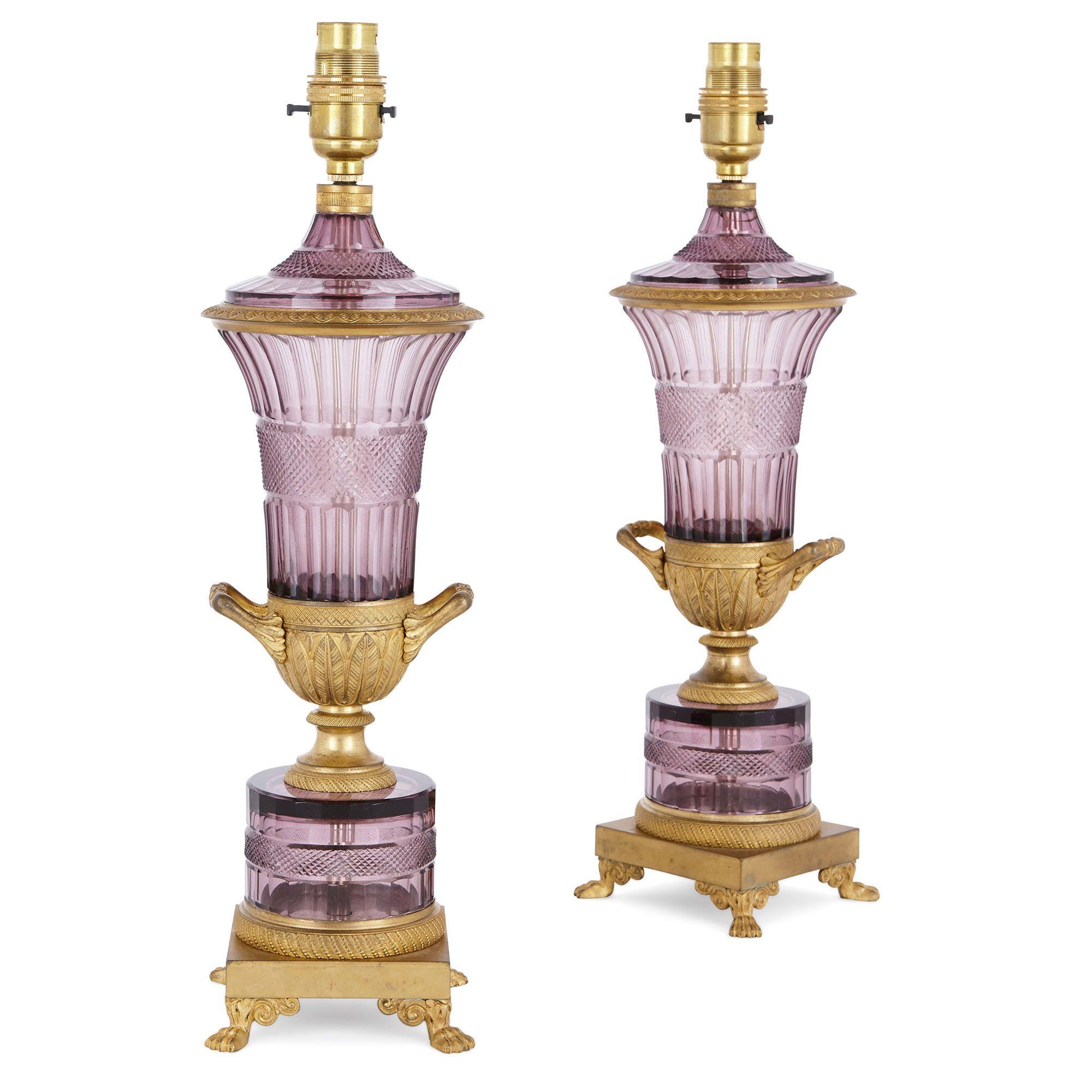 Pair of Louis XVI style ormolu and amethyst crystal lamps