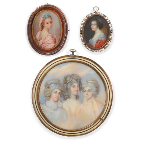 Set of three Victorian portrait miniature paintings