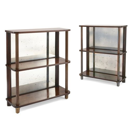 Pair of French mirrored mahogany wood étagères