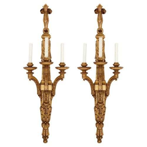 Pair of Neoclassical style carved giltwood wall lights