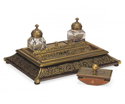 Victorian ebony and brass Boulle marquetry inkstand
