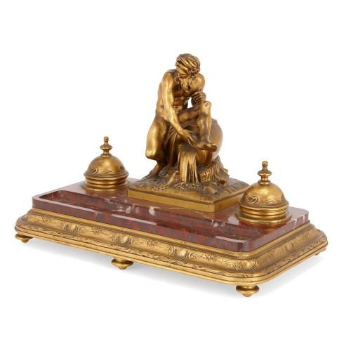Veined marble mounted ormolu antique inkstand by Barbedienne