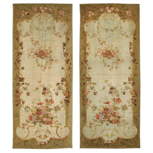Pair of antique French Aubusson tapestries