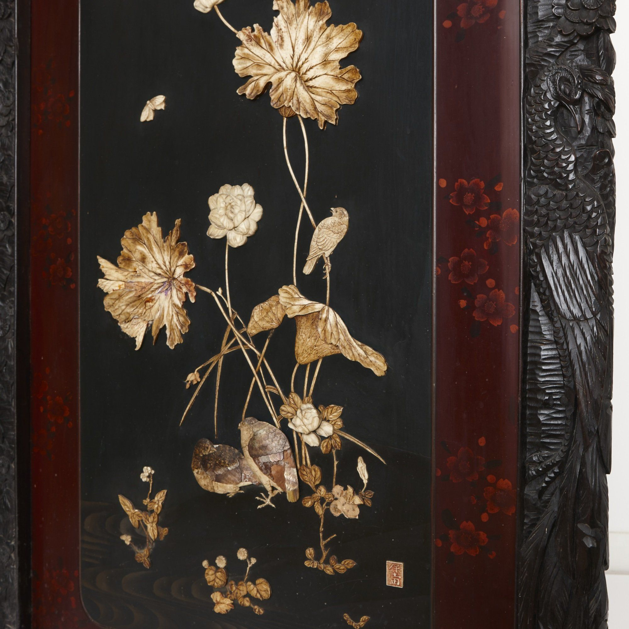 Mother Of Pearl Inlay Wooden Mini Folding Screen Asian: Japanese Meiji Period Folding Carved Wood Shibayama Screen