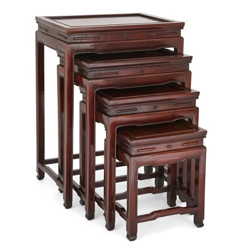 Set of four Chinese rosewood nesting tables