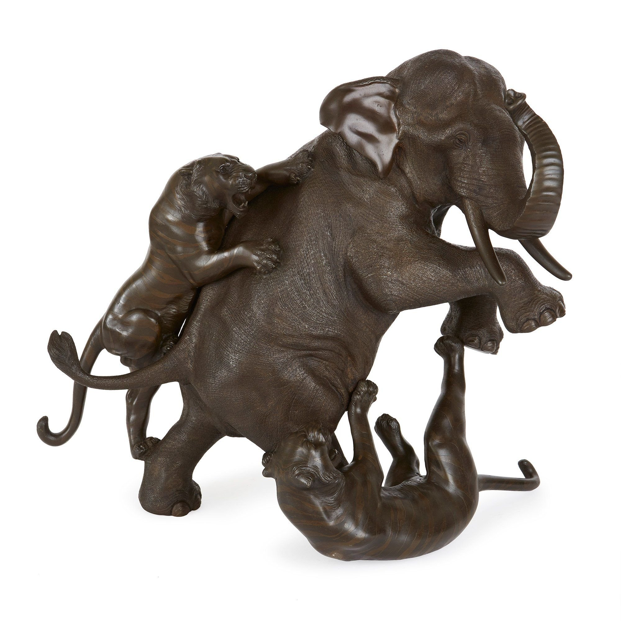 Japanese Antique Bronze Model Of An Elephant And Two Tigers Mayfair Gallery
