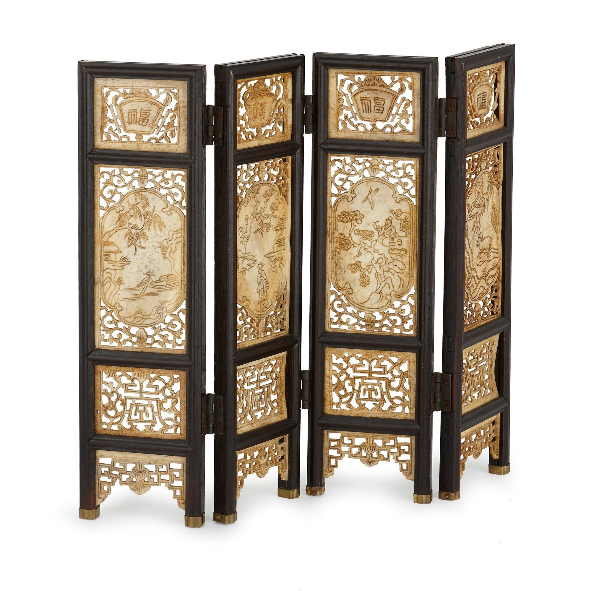 Carved Ivory And Wood Antique Chinese Screen Mayfair Gallery