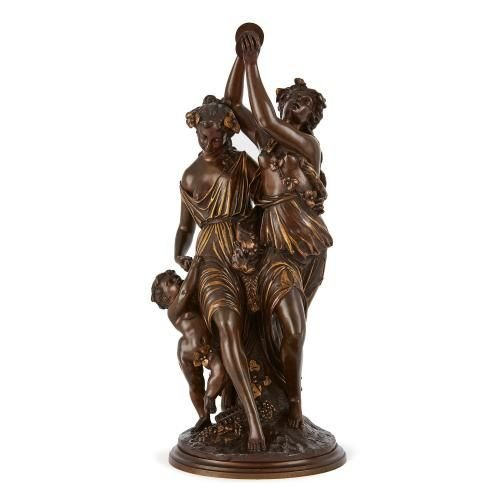 Antique parcel gilt and bronze group of dancers by Loveque