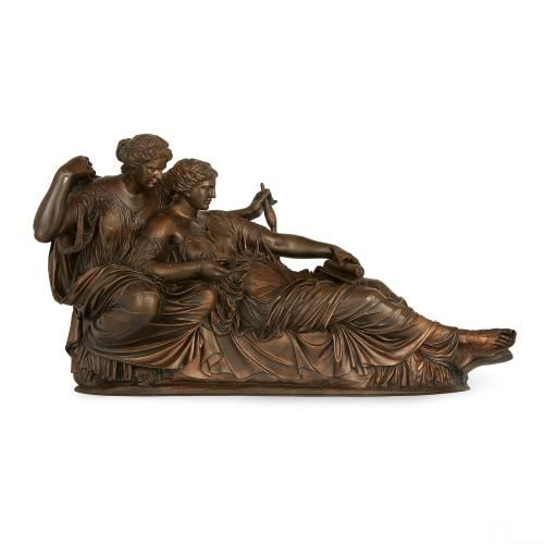 Parcel gilt bronzed group of the Two Fates by F. Barbedienne